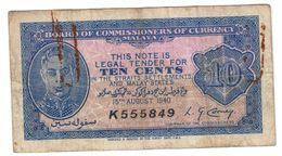 Malaya 10 Cent 15/10/1940 .J. - Malesia