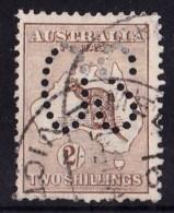 Australia 1913 Kangaroo 2/- Brown 1st Watermark Perf Large OS Used - - 1913-48 Kangaroos