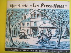 """Dépliant 2 Volets / Hostellerie """"Les Perce-Neige"""" /C Palma/ Vernou -sur-Brenne/Indre & Loire/Vers 1950        DT13 - Dépliants Turistici"""