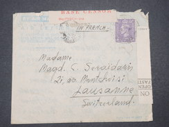 GRANDE BRETAGNE - Lettre Pour Lausanne Période 2 ème Guerre Avec Contrôle Postal  - L 9484 - Marcofilie