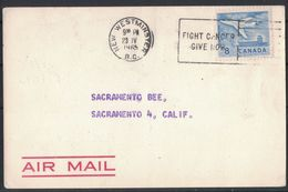 TH40     New Westminster Canada 1965 First Flight Cover To Sacramento USA Aviation Stamps Airmail Label - 1952-.... Regno Di Elizabeth II