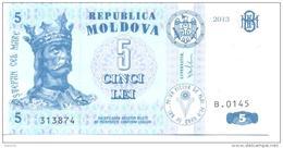 2013. Moldova, 5 Leu 2013, P-9, UNC - Moldova