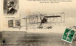 L'Aviateur Roger Sommer En Plein Vol Au-dessus Des Plaines Du Camp De Chalons - Appareil Farman   -  CPA - ....-1914: Precursors