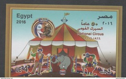 EGYPT, 2016, MNH,CIRCUS, CLOWNS, ELEPHANTS, TIGERS, S/SHEET - Zirkus