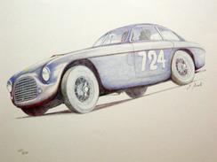 """Automobili _ FERRARI 195 S TOURING """"LE MANS"""" _ MILLE MIGLIA 1950 _ STAMPA FIRMATA E NUMERATA _ GIANNI MARZOTTO E CROSARA - Automobilismo - F1"""