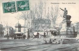 66 - Perpignan - Place Et Statue Arago (publicité Byrrh Sur Le Kiosque) - Perpignan