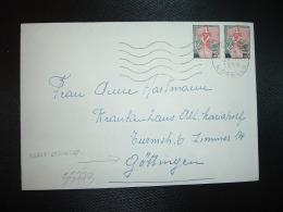 LETTRE Pour ALLEMAGNE TP MARIANNE A LA NEF 25F Paire OBL.MEC.24-11-1959 THIONVILLE MOSELLE (57) - 1959-60 Marianne à La Nef
