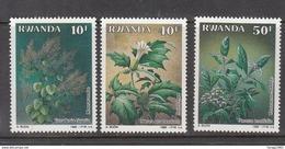 1989 Rwanda Medicinal Plants 3 High Values From Set Of 5  MNH  Much Cheaper Than Buying In Set - Piante Medicinali
