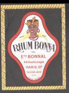 ETIQUETTE RHUM BONNA (scannée Recto-verso) - Rhum