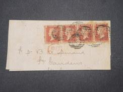 GRANDE BRETAGNE - Lettre ( Grand Fragment ) De Londres Pour La France En 1866 , Affranchissement Bande De 4 - L 9536 - 1840-1901 (Regina Victoria)