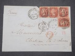GRANDE BRETAGNE - Lettre De New Castle Pour La France En 1864 , Affranchissement 1p , 1 Bande De 3 +1 - L 9538 - 1840-1901 (Regina Victoria)
