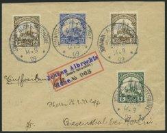 DSWA 12,14,24 BRIEF, JOHANN-ALBRECHTSHÖHE, 1909, 5, 20 Und 3 Pf. Kaiseryacht Auf Einschreibbrief Mit Provisorischem - Colony: German South West Africa