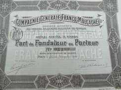 Compagnie Générale Franco-Malgache / Part De Fondateur Au Porteur/ Paris/1899        ACT120 - Afrique