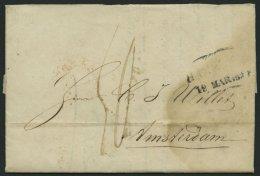 HAMBURG VORPHILA 1839, HAMBURG., L2 Auf Brief Nach Amsterdam (rückseitig Roter Ankunftsstempel), Feinst (fleckig) - Thurn And Taxis
