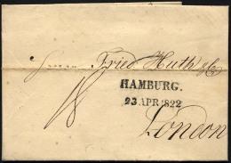 HAMBURG 1822, HAMBURG., L2 Auf Brief Nach London, Registraturbug, Pracht - Thurn And Taxis