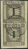 BADEN 5 Paar BrfStk, 1853, 1 Kr. Schwarz Im Senkrechten Paar, Nummernstempel 100 (NEUSTADT), Obere Marke Leicht Ber&uuml - Baden