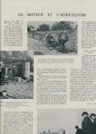 1941 : Document (1 Page), Le Moteur Et L'agriculture, Maréchal Pétain, Tracteur Agricole Renault, Gazogène, Attelage - Non Classés