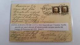 1421 B - 1931 CARTOLINA ILLUSTRATA DA LAURANA FIUME PER AUSTRIA - 1900-44 Vittorio Emanuele III