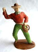 Figurine MARQUE INCONNUE COW BOY AVEC LASSO 60´s Pas Starlux Clairet - Lasso Cassé - Starlux