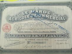 Le Maroc Agricole & Commercial/ Société Anonyme/Action De 100 Francs Au Porteur /Lyon / /1918       ACT126 - Afrika