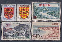 Réunion N° 307 + 309 / 10 + 311A / 12 XX Partie De Série : Les 5 Valeurs Surchargées CFA  Sans Charnière, TB - Neufs
