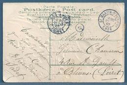 CPA - CACHET : ST MARTIN D'AUXIGNY (CHER) Sur Carte Postale Fantaisie - 1877-1920: Periodo Semi Moderno