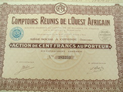 Comptoirs Réunis De L'Ouest Africain/Société Anonyme/Action De 100 Francs Au Porteur/Cotonou/Dahomey/1929       ACT128 - Afrique