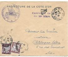 DIJON Pour CHALON SUR SAONE_147_Origine Préfecture En Franchise Taxée à L'arrivée En Exécution De La Loi De 1889 - Poststempel (Briefe)