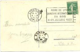 RHONE - Dépt N° 69 = LYON GARE 1923 = FLAMME FLIER ' FOIRE / QUINZAINE Du BOIS ' - Marcophilie (Lettres)