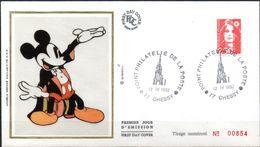 Cachet Point Philatélique De La Poste CHESSY 77 - Du 12/9/1992 - Disney
