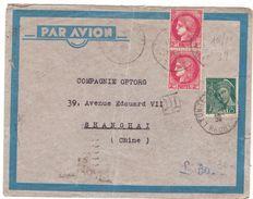 D595 CERES LETTRE AVION POUR CHINE AVEC TIMBRES POR 7 FR  QUI MANQUENT 15-11-39 - France