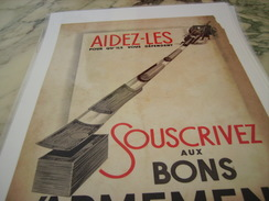 ANCIENNE PUBLICITE BON D ARMEMENT POUR LA DEFENCE 1940 - 1939-45