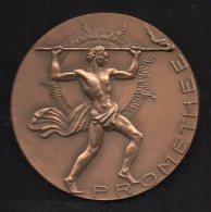 418-Médaille Industrie Du Gaz, Prométhée 1974 Sig. Caron En Bronze - Professionnels / De Société