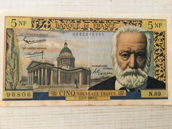 """Billet 5 NF """"Victor Hugo"""" 1962 - 5 NF 1959-1965 ''Victor Hugo''"""