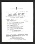 Noorderwijk - Doodsbrief Frans-Adolf Govaerts °Noorderwijk 1893 +Izegem 1964 Vuurkruiser Oudstrijder 1914-1918. - Décès