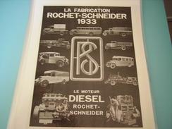 ANCIENNE PUBLICITE CAMION FABRICATION ROCHET SCHNEIDER  1933 - Camions