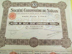 Société Cotonniére De Saïgon/Action De 250 Francs Au Porteur/Indochine/Paris /1925          ACT140 - Asien