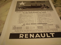 ANCIENNE PUBLICITE VOITURE LES STELLA RENAULT 1933 - Camions