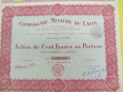 Compagnie Miniére Du LAOS)/Société Anonyme/ Action De 100 Francs Au Porteur/Indochine/Paris/1928         ACT144 - Asie