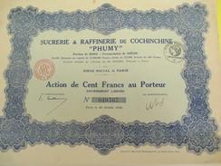 Sucrerie & Raffinerie De Cochinchine/Société Anonyme/ Action De 100 Francs Au Porteur/Indochine/Paris/1926    ACT145 - Asien