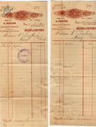 VP10.376 - 2 Factures - Machines A Coudre Américaines A. JOHNSON à PARIS Rue Château Landon - France