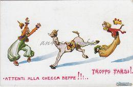 """Humor_Caricature_Satira_Allegoria_Illustratore Stroppa""""ATTENTI ALLA CHECCA BEPPE !.TROPPO TARDI !._Originale100%_2Scan- - Humour"""