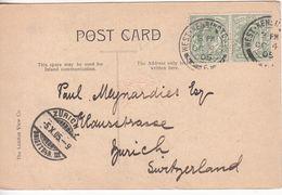 GB: EDVII London Postcard; West Kensington To Zurich, Switzerland, 4-5 Oct 1905 - 1902-1951 (Rois)