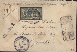 Merson YT 143 Seul Sur Lettre Recommandé Chargée Gros Chiffre 3710 St Laurent Du Pont Isère Cachet Cire 1908 - 1877-1920: Semi-moderne Periode