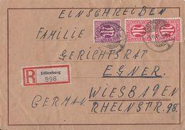 AM-Post R-Brief Mif Minr.7,2x 8 Dillenburg 5.11.45 - Bizone