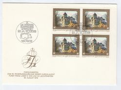 1978 LIECHTENSTEIN FDC Block 4 X CASTLE Stamps Royalty  Cover - FDC