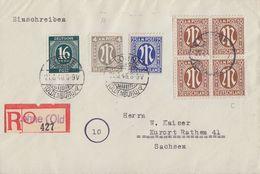 AM-Post R-Brief Mif Minr.4x 6,9,18, Gemeina.Minr.923 Lohne (Old.) 21.6.46 - Bizone