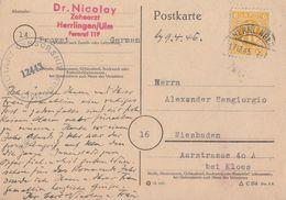 AM-Post Karte EF Minr.4 Herrlingen 17.12.45 Zensur - American/British Zone