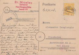 AM-Post Karte EF Minr.4 Herrlingen 17.12.45 Zensur - Zone Anglo-Américaine