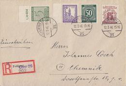 SBZ Orts-R-Brief Mif Minr.128,145,153, Gemeina.Minr.932 Chemnitz 12.3.46 Not-R-Zettel - Sowjetische Zone (SBZ)